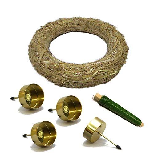 Decpero Corona de Adviento para manualidades, 6 piezas, con portavelas dorado