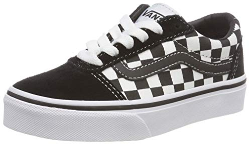 Vans Unisex-Kinder Ward Suede/Canvas Sneaker, Schwarz ((Checker) Black/True White Pvj), 38.5 EU
