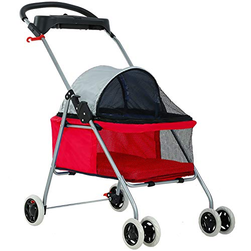 BestPet Cute Posh Pet Stroller Dogs Cats w/Cup Holder
