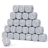 Silikon Buchstaben Perlen,104 Stück Alphabet Englisch Würfel 12mm Machen Sie Ihr eigenes Kit Mix für schnullerkette Halskette Armband Ring DIY Bulk Set Baby Zahnen Kauen Perlen Grau BPA frei