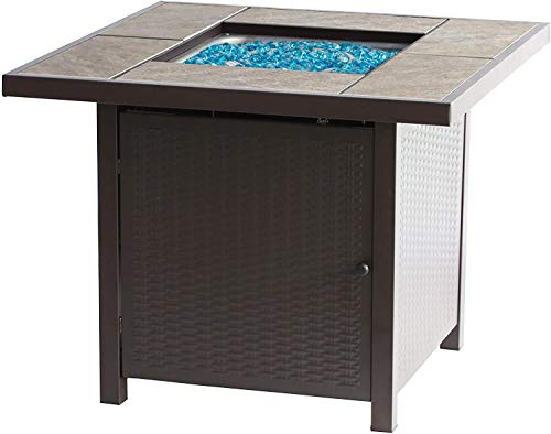 BALI OUTDOORS Propane Gas Fire Pit Table, 32 inch 50,000 BTU Square Gas Firepits for Outside, Brown