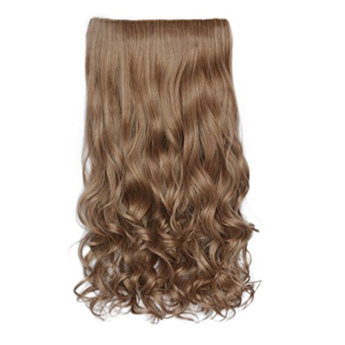 REECHO 20' 1-pack 3/4 Full Head Curly Wave Clips in on Synthetic Hair Extensions Hair pieces for Women 5 Clips 4.6 Oz Per Piece - Light Caramel Brown