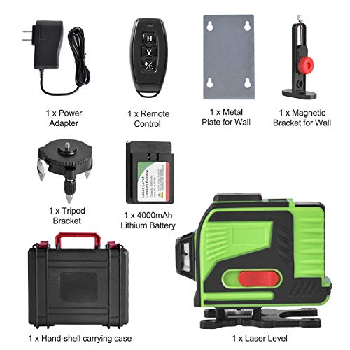 3D Green Beam 3x360 Cross Rechargeable Line Laser with Remote Control AIRSEE Self-Leveling Laser Level Three Plane Leveling /& Alignment Line Laser Level with Tripod Pivoting Base /& Magnet Bracket