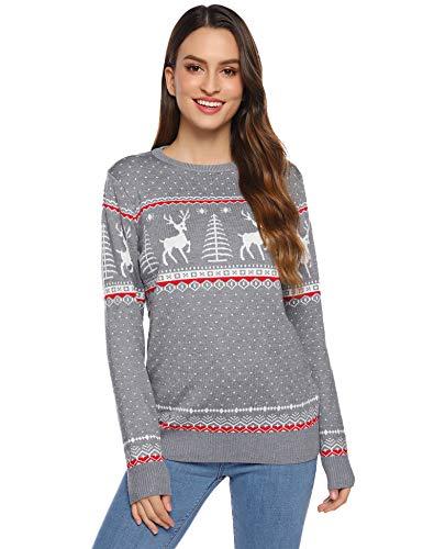 Abollria Damen Lang Strickpulli mit Rentiermuster Weihnachtspullover Rundhals Winterpulli Christmas Sweater,Grau,S