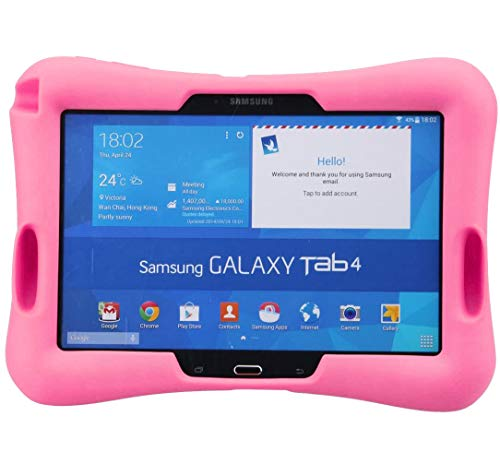 NEWSTYLE Shock Proof Case Light Weight Kids Super Protection Cover with Audio Amplifier Design For Samsung Galaxy Tab 4 10.1-inch Tablet SM-T530/T531/T535 (Pink)