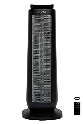 Climatik Oscillating Black Tower Fan Heater - Ceramic PTC - Thermostat, 2 Power Settings, LED Display, Portable Design with Timer & Remote Control - 2000W