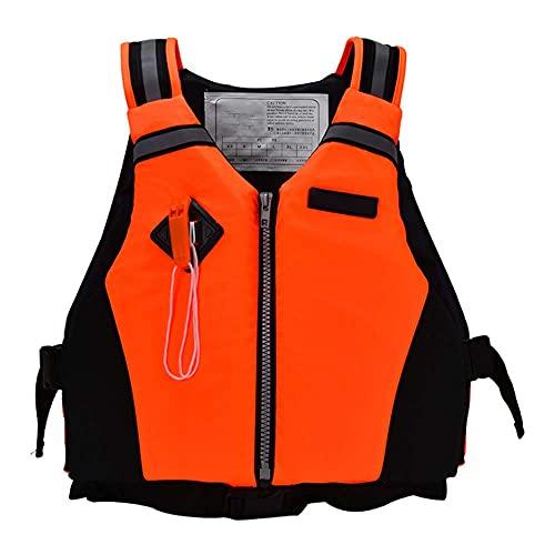 JYMEI Chaleco De Natación para Adultos Chalecos De Flotabilidad Chaleco Salvavidas con Hebilla Ajustable Y Silbato De Emergencia para Deportes Acuáticos Kayak Canotaje Snorkel,Naranja