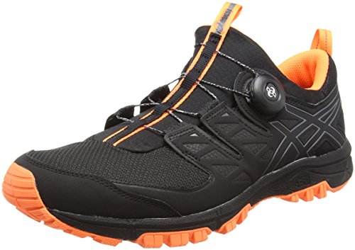 ASICS Gel-Fujirado, Zapatillas de Entrenamiento para Hombre, Negro, Carbono, Naranja, 42 EU