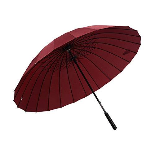 Paraguas recto a prueba de viento para hombre de negocios de 24 huesos, gran regalo retro, paraguas de golf, paraguas publicitario, mango de cuero, burdeos, 25 pulgadas * 24 k