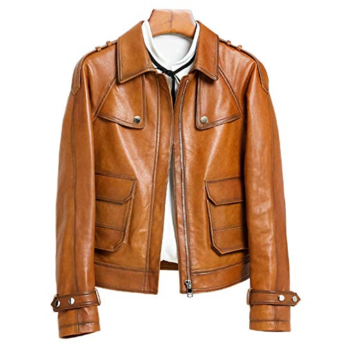 HUIGE Damen Asymmetrischer Reißverschluss Lammfell Moto Biker Jacke Langarm Slim Taschen Casual Motorrad Kurze Ledermäntel Mode Mädchen Kleidung Gelb S