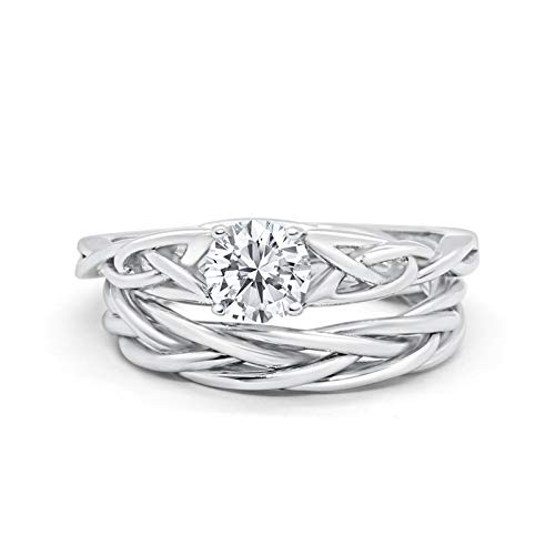 Blue Apple Co. Round Simulated Cubic Zirconia Celtic Trinity Wedding Engagement Band Ring Braided Two Piece Bridal SetSize-7