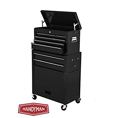 Handyman Heavy Duty Steel Toolbox with Chests and Roller Cabinets 4 Wheel Casters (Black)