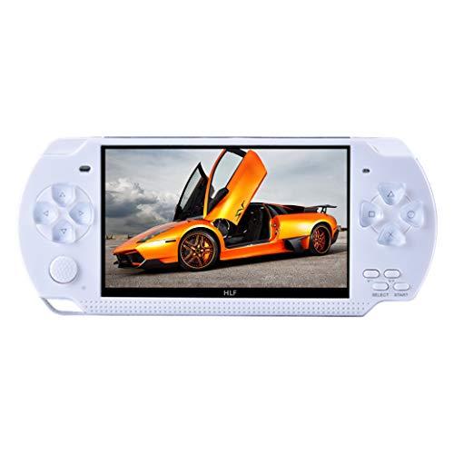 HLF 4,3 Zoll mp3 mp4 Videospielkonsole integrierte 1320 Klassische Spiele unterstützen 9 Arten von Simulatorspielen unterstützen Video / Musik / DVD / DC / E-Book erleben Gute Erinnerungen (Weiß)