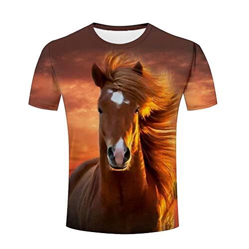 Fashion Beau Animaux Cheval Homme 3D T-Shirt à Manches Courtes Col Rond Fashion Tops Eté XL