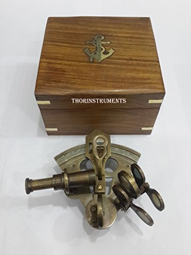 """THORINSTRUMENTS (with device) 4"""" Astrolabe Antique Sextant w/Wooden Box: Nautical Sextant"""