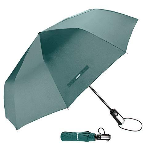 TradMall Travel Umbrella Windproof with 46 Inches Large Canopy 10 Reinforced Fiberglass Ribs Ergonomic Handle Auto Open & Close, Dark Green