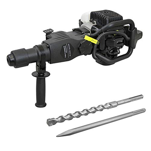 T-Mech Petrol Driven Hammer Drill 2-Stroke 1kw Rotary Breaker Chiselling Demolition Jackhammer 37.7cc / Tool Kit & Grease