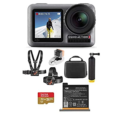 DJI Osmo Action 4K HDR Camera - Bundle with Vivitar Adventure On Water Action Bundle, and 32GB Memory Card from DJI