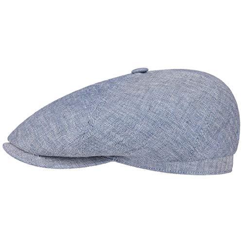 Stetson Brooklin Leinen Schirmmütze Damen/Herren - Sommercap mit Fischgratmuster - Leinenmütze Herringbone - Ballonmütze Frühjahr/Sommer blau XXL (62-63 cm)