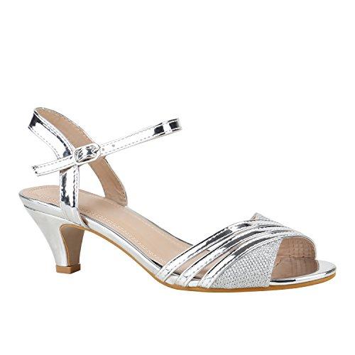 stiefelparadies Damen Schuhe Lack Sandaletten T-Strap Metallic Riemchensandaletten 155918 Silber Lack 36 Flandell