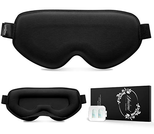 Unimi Sleep Mask, [ No Pressure ] 3D Eye Mask Women Men Contoured Cup Breathable Sleeping Eye Mask Block Out Light Soft Comfort Eye Shade Cover with Adjustable Strap for Travel Nap Yoga