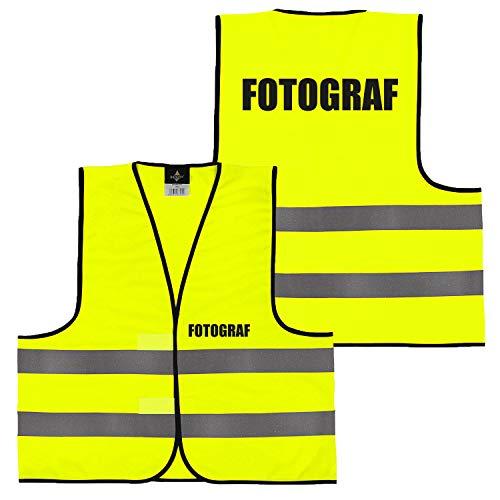 Warnweste Gelb Orange, beidseitig bedruckt auf Brust und Rücken mit Ordner, Security große Auswahl Motive Aufdrucke 026 Fotograf (Gelb) XXL
