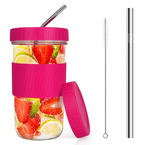 Bicchieri Brynnl Bicchieri riutilizzabili Barattolo di vetro con 2 coperchi e cannucce Spazzola per la pulizia Bocca larga Tazza da tè a bolle Barattolo di vetro Tazza sippy per marmellata(Rose Red)