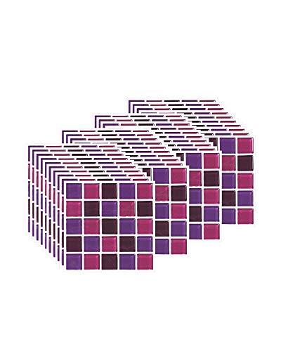 FBBULES 40 Piezas Pegatinas de Baldosas Calor Impermeable Papel Vinilo Adhesivo Pegatinas de Pared Decorativos para Sala Cocina Mosaico Morado (10 x 10 cm / 4 x 4 Pulgadas)