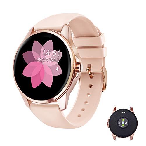 EIVOTOR Smartwatch Damen Fitness Armband Tracker Sport Uhr mit Pulsmesser Armbanduhr IP68 Wasserdicht Schrittzähler Kalorienzähler Schlafmonitor Aktivitätstracker für Android IOS Rosa