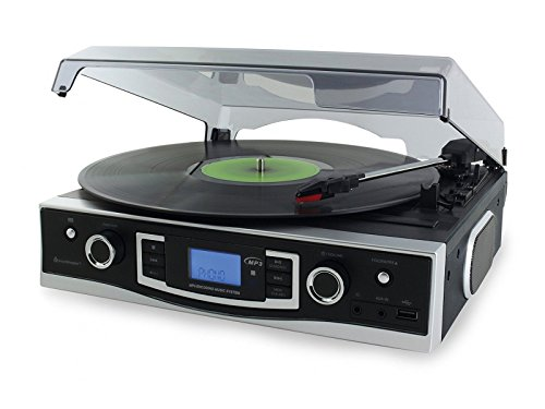 SoundMaster PL530 Plattenspieler mit UKW-/MW-Radio und USB/SD-Card Slot und Encoding USB
