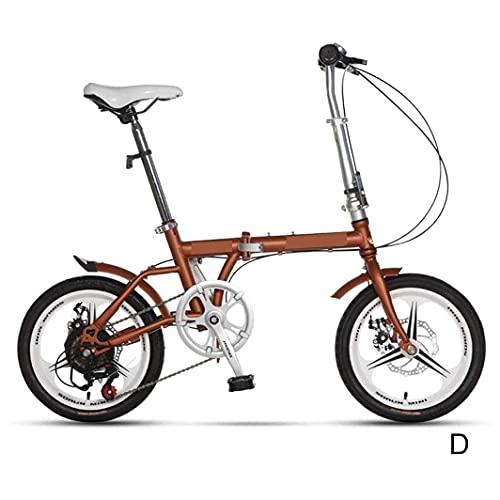 HUAQINEI Bicicleta para niños Bicicleta Plegable de 16 Pulgadas Ultraligera Joven Estudiante niño niña Modelo Adulto portátil Velocidad Variable Ejercicio de Freno de Disco Dual, marrón