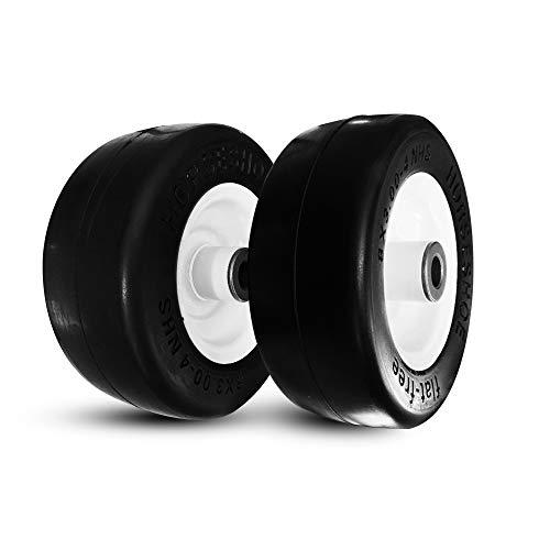 Horseshoe 2 New Solid 8x3.00-4 Flat-Free Smooth Tires w/Steel Rim for Lawn Mowers & Gardon Wheels - 3/4' Bore 83004 T161