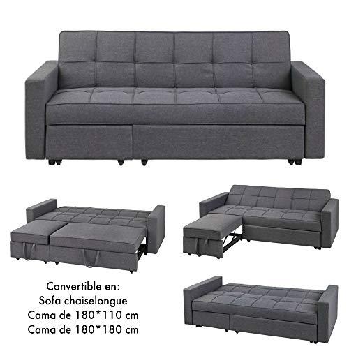 MerkaHome - Sofá Cama Clic clac con chaiselongue Loira Cama 180x180 cm Gris