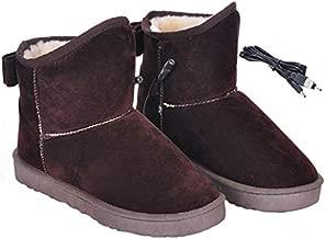 Botas calefactoras con calentamiento USB con zapatos Bowknot Soft Plush Warm para clima frío, 11 pulgadas