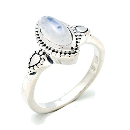 Mondstein Ring 925 Silber Sterlingsilber Damenring weiß (MRI 134-04), Ringgröße:52 mm/Ø 16.6 mm