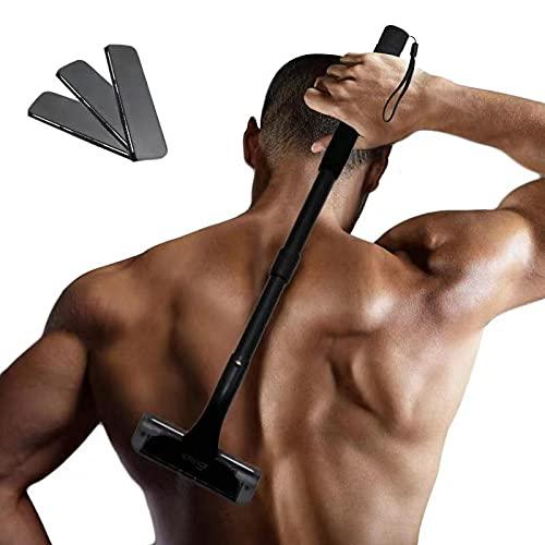 EASACE Afeitadora Espalda Depilación Corporal para Hombre, Afeitadora Corporal con Mango Largo 54.5cm Ajustable, Curvo DIY Navaja Afeitadora Sin Dolor con 3 Durable Cuchilla Repuesto (Negro)