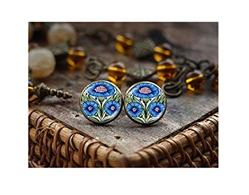 Blauwe bloem oorstekers, Victoriaanse kunst foto oorbellen, Blauwe tegel oorbellen Korenbloem stud oorbellen