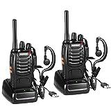 Nestling Funkgerät Set,BF-88E Walkie Talkie 16 Kanäle Sprechfunkgerät Funktelefon in beiden Richtungen,Funksprechgerät Eingebauter LED Taschenlampe mit USB Anschluß und Headset(2er Set)