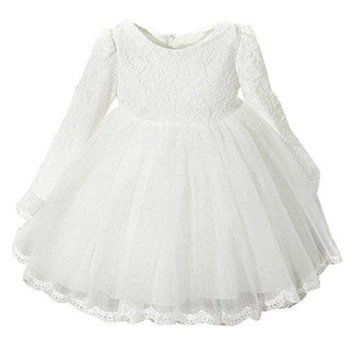 Unbekannt Allence Baby Mädchen Bestickt Tüll Blume Prinzessin Brautjungfer Hochzeit Geburtstag Party mit Langen Ärmeln Kleid