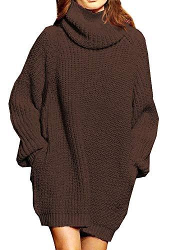 Viottiset Mujer Cuello Alto Chunky Pullover Punto Cable Mini Túnica Vestido Top Marrón S