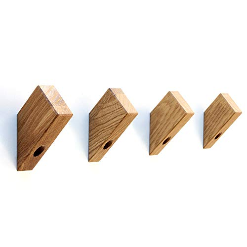Kardamov Studio Wandhaken Holz 45° 4 Stück | Handgemachte Kleiderhaken aus Eiche in Berlin | Modern Wand Dekor 8cm groß