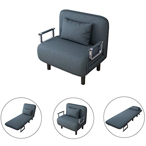 Sofa Bed Convertible Chair | Folding Arm Chair Single Sleeper Leisure Recliner Lounge Couch Home Office Furniture with Pillow Easy to Carry and Move (from US, Blue)