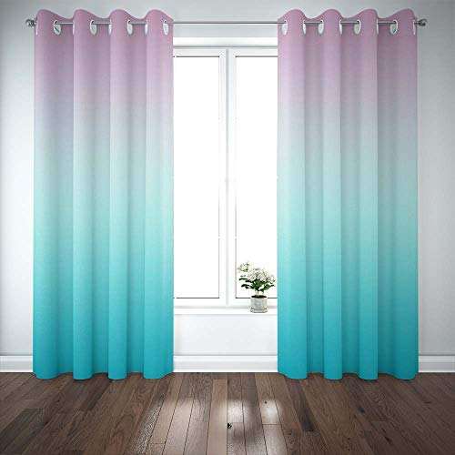 Musesh Pink Blue Gradient Bay Window Curtains 2 Panels,52X63 Inch Abstract Pastel for Windows Blackout Curtains Window Treatments Curtains for Bedroom Living Room Dorm