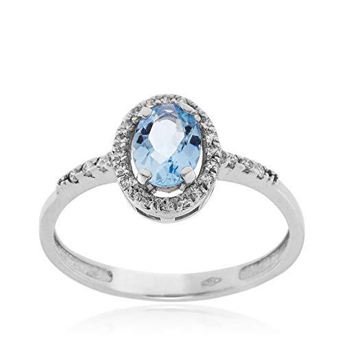 Gioiello Italiano - Ring aus Weißgold mit Diamanten und Aquamarin Oval