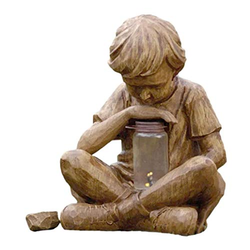 Adorno de jardín, estatua de niño con luz solar vintage, escultura artística de resina, decoración para patio al aire libre