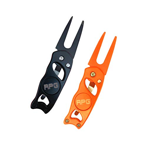 RPG Stainless Steel Switchblade Golf Divot Repair Tool with Ball Marker and Belt Clip-Attach to Golf Belt, Golf Shirt, Golf Pants, Golf Shorts, or Carry in Pocket (Black and Orange)