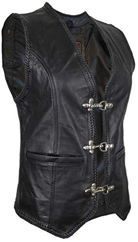 Damen Lederweste, Bikerweste, Motorradlederweste, Clubweste, Chopperweste, Rocker Weste, Kutte, Vest, Leather Vest, Leather Waistcoat (L)