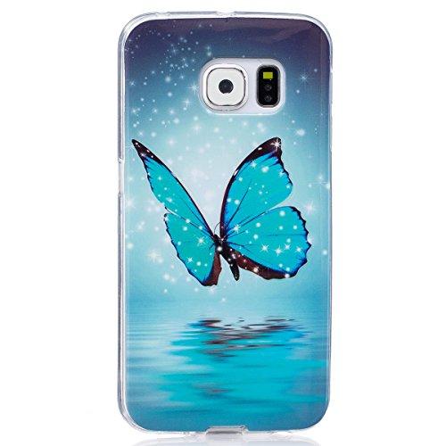 ISAKEN Compatibile con Samsung Galaxy S6 Edge Custodia, Agganciabile Luminosa Caso con Lampeggiante Ultra Sottile Morbido TPU Cover Rigida Gel Silicone Protettivo Custodia - Glitter Farfalle