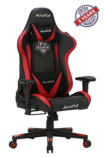 AutoFull Ergonomic Video Gaming Office Chair PU Leather Bucket Seat Racing Desk Red Chairs with Lumbar Support (3-Years Warranty) chair gaming red