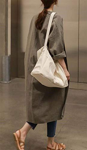 『XIEBAIJIU アウター 秋 ロング丈 春 長袖 シンプル ロング 無地 ファッション S ~ XL レディース (カーキ, S)』の2枚目の画像